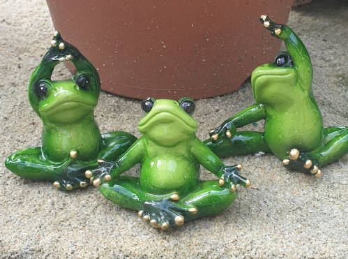 3 decorative yoga frogs